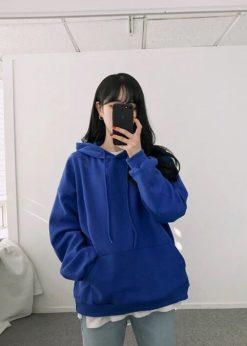 Áo nữ nỉ hoodie màu Xanh nước