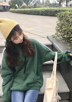 áo nỉ hooide nữ xọc tay màu xanh lá