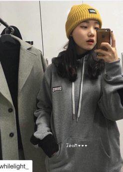 áo hoodie vải nỉ màu xám ghi