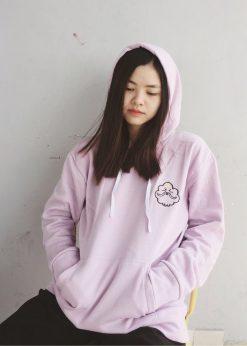 Áo nỉ hoodie nữ tím mộng mơ