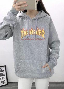 áo nỉ hoodie nữ xám chữ
