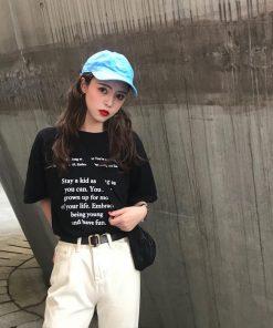 áo thun tay lỡ nữ chữ