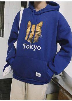 áo nỉ hoodie nam Tokyo xanh