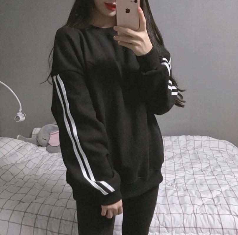 Áo nỉ hoodie Tay xọc viền