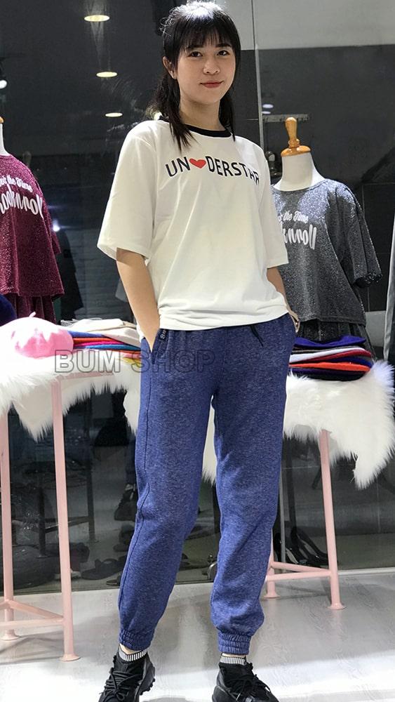 quần jogger thun nữ xanh bis đẹp tphcm