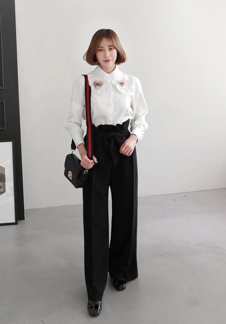 cách phối đồ với áo sơ mi nữ với quần ống rộng