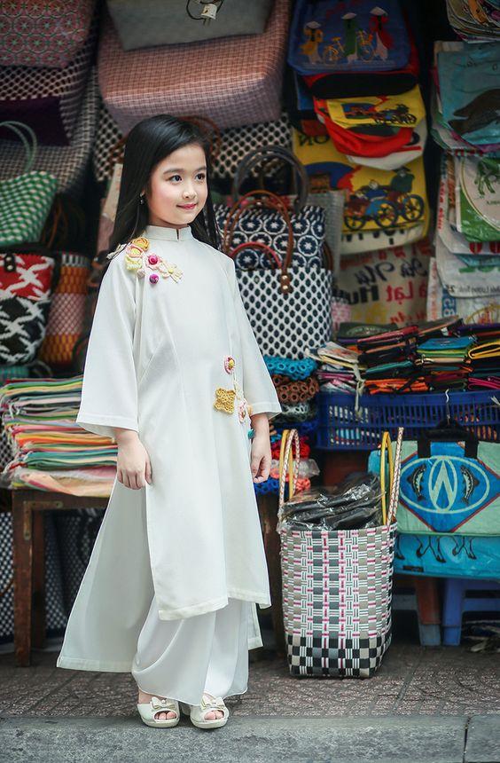 kiểu áo dài cách tân trẻ em