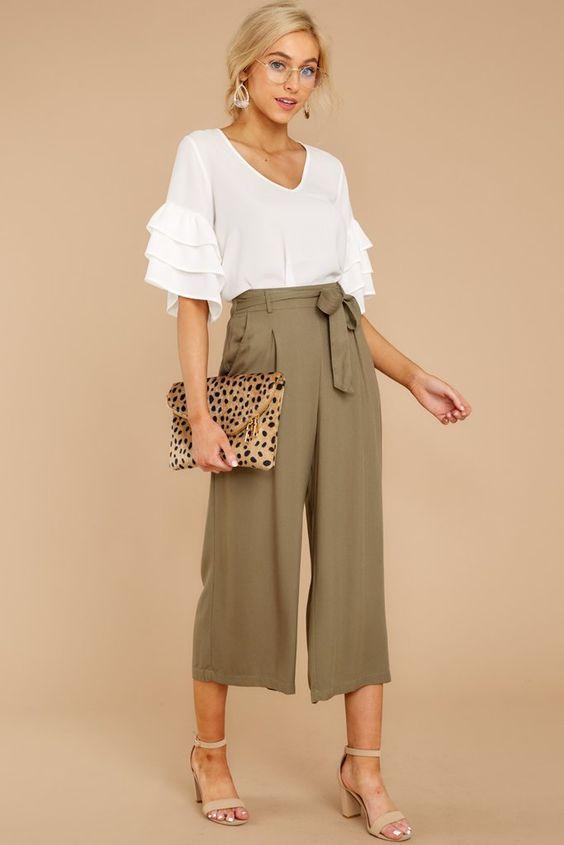 phối đồ với quần culottes phong cách