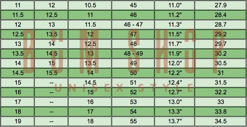 Cách đo size giày & bảng size giày nam nữ chính xác nhất