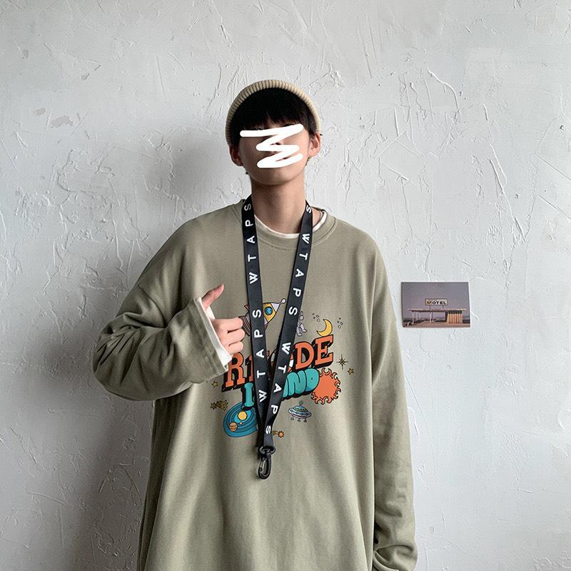 áo thun tay dài nam unisex form rộng màu oliu 1